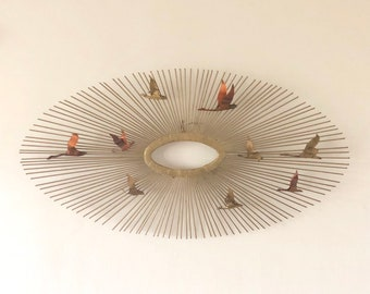 C. Jere Metal Wall Sculpture- Sunburst with Birds