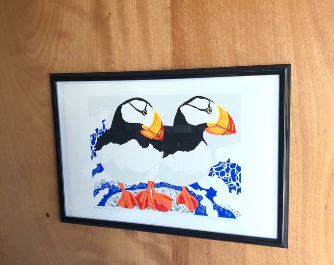"""Wall Art """"Puffins on the Rocks"""" by Ann T. Rice"""