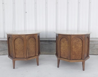 Mid-Century Marble Top Nightstands by Thomasville