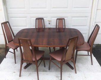 Niels Koefoed Rosewood Dining Room Set with Six Chairs