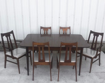 Mid-Century Modern Dining Set with Eight Chairs