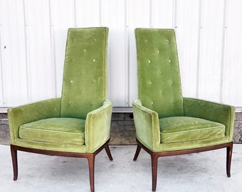 Mid-Century Modern High Back Accent Chairs- A Pair