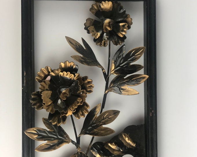 Featured listing image: Metal Floral Motif Wall Hanging Decoration Black and Gold Rustic