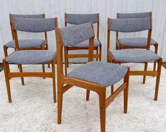 Scandinavian Modern Teak Dining Chairs after Erik Buch- Set of Six