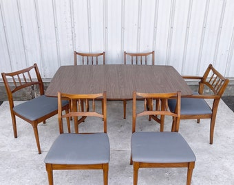 Mid-Century Modern Dining Set W/ Six Chairs
