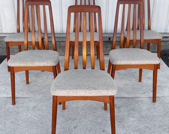 Vintage Modern Teak Dining Chairs- Set of Six