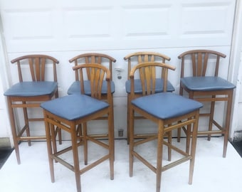 Danish Modern Style Wishbone Barstools- Set of Six