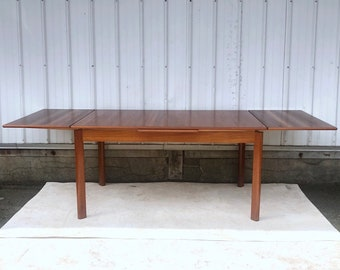 Mid-Century Modern Draw Leaf Teak Dining Table