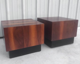 Pair Mid-Century Modern Cube Style End Tables