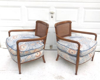 Pair Vintage Club Chairs With Cane Back