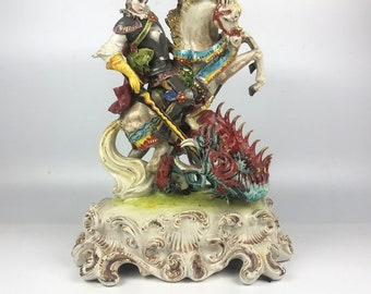 Vintage Capodimonte Porcelain Statue of St. George