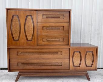 Mid-Century Modern Sliding Front Highboy Dresser