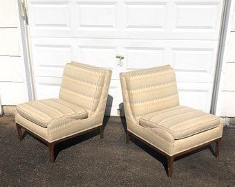 Pair Mid-Century Modern Slipper Lounge Chairs