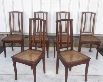 Mid-Century Modern Dining Chairs With Cane Seats- Set of Six