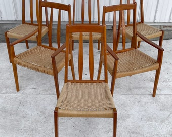Scandinavian Modern Teak Dining Chairs- Set of Six