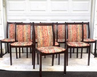 Scandinavian Modern Rosewood Dining Chairs- Set of 8
