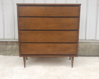 Mid-Century Modern Highboy Dresser by Bassett