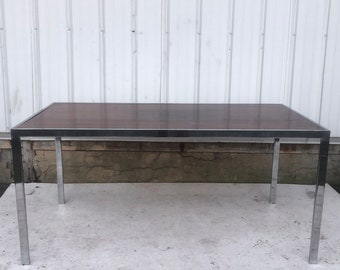 Vintage Modern Rosewood & Chrome Dining Table