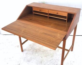 Mid-Century Modern Teak Drop Front Desk by Torbjorn Afdal