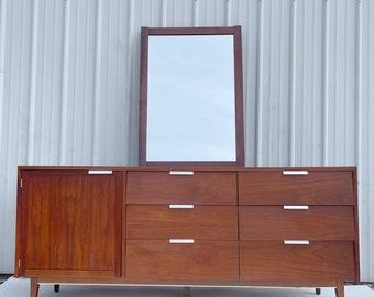 Mid-Century Modern Nine Drawer Dresser With Mirror