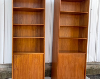 Pair Danish Modern Teak Bookcases