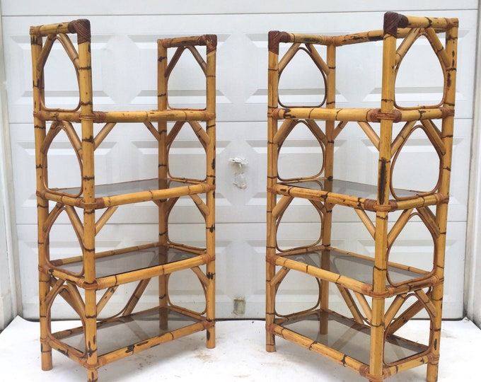 Pair Vintage Bamboo & Glass Bookcases