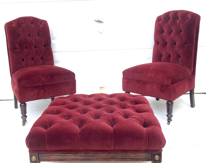 Vintage Tufted Velvet Slipper Chairs With Ottoman