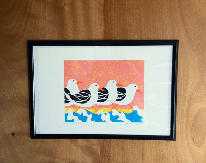 """Brightly Colored Art Print """"Watching The Gulls Go By"""""""
