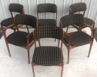 Mid-Century Teak Dining Chairs by Erik Buch- Set of Six