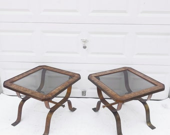 Pair Vintage Burl and Iron Side Tables