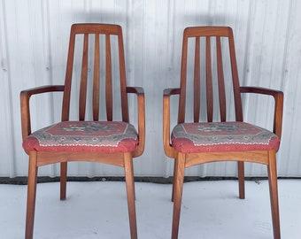 Pair Vintage Teak Dining Chairs