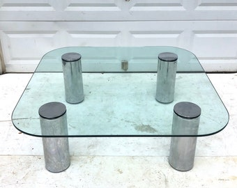 Mid-Century Chrome and Glass Coffee Table attributed to Pace Collection