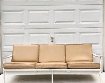 Mid-Century Modern Three Seat Sofa with Spoke Back