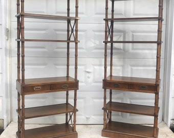 Pair Vintage Campaign Style Bookcases