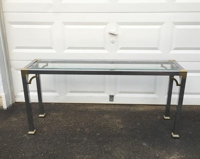 Vintage Chrome Console Table, Maison Jansen Style