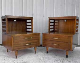 Pair Mid-Century Two Tier Nightstands by R-Way