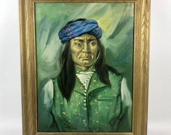 Vintage Portrait Painting of Native American
