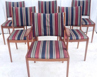 Danish Modern Teak Dining Chairs- Set of Six