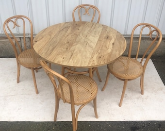 Boho Modern Dining Set With Four Cane & Bamboo Chairs