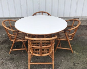 Vintage Boho Bamboo Dining Set- Table With Four Chairs