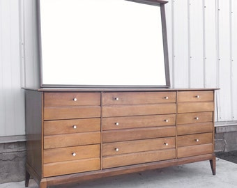 Heywood Wakefield Nine Drawer Dresser with Mirror