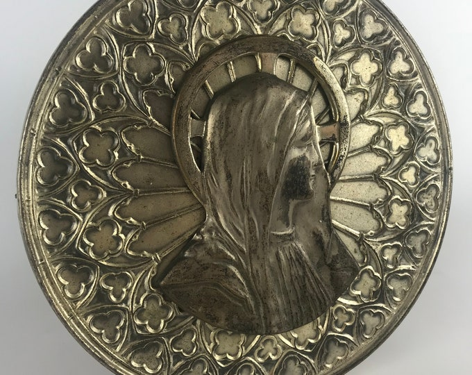 Virgin Mary Embossed Metal Wall Art, Vintage