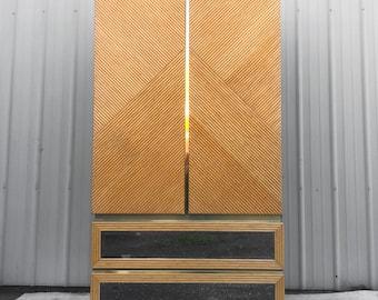 Vintage Modern Bamboo Front Armoire Dresser