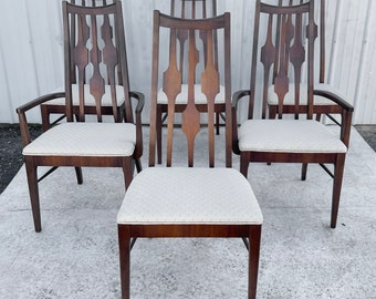 Mid-Century Modern Walnut Dining Chairs- set of Six