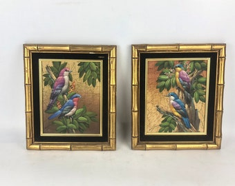 Pair Vintage Chinoserie Bird Wall Hangings