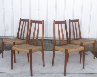 Scandinavian Modern Teak Dining Chairs With Rope Seats- Set of 4
