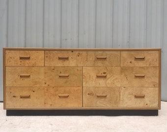 Vintage Modern Burl Dresser by Henredon