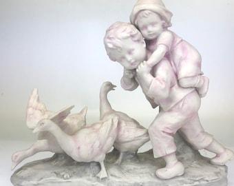 Vintage Limbach Porcelain Figurine- Kids w/ Geese