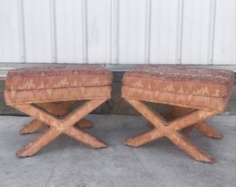 Pair Mid-Century Modern Ottomans/Footstools