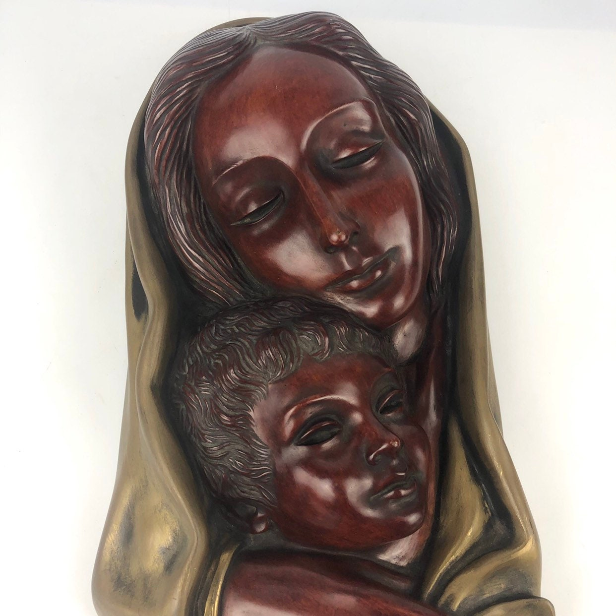 Vintage Ceramic Wall Art Mother W Child